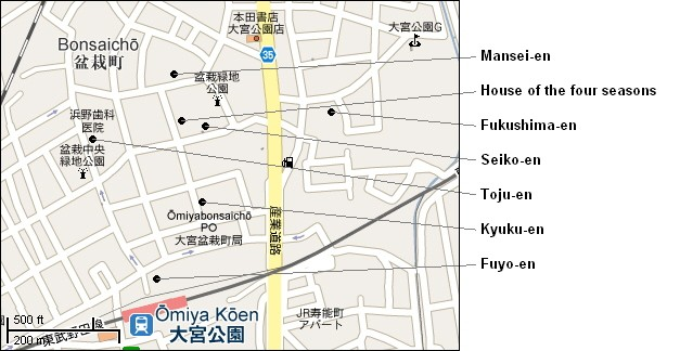 Omiya Bonsai village map