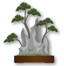 Ishisuki (growing on rock) Bonsai style